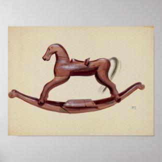 El vintage del caballo de la afición embroma el póster