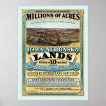 El vintage del ~ de Iowa y de Nebraska aterriza la Posters
