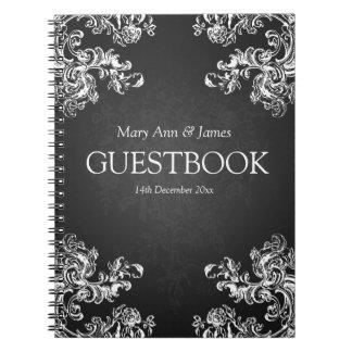 El vintage del Guestbook del boda remolina el negr Libros De Apuntes Con Espiral