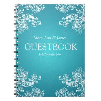 El vintage del Guestbook del boda remolina la turq Libros De Apuntes