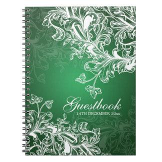 El vintage del Guestbook del boda remolina verde Libros De Apuntes