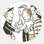 El vintage del kitsch embroma a buenos compinches pegatina redonda