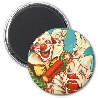 El vintage del kitsch nunca confía en a un payaso imán redondo 5 cm
