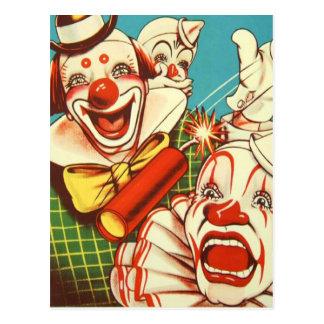 El vintage del kitsch nunca confía en a un payaso postal