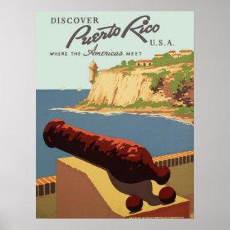 El vintage descubre el viaje de Puerto Rico WPA Póster