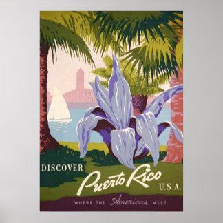 El vintage descubre Puerto Rico los E.E.U.U. Posters