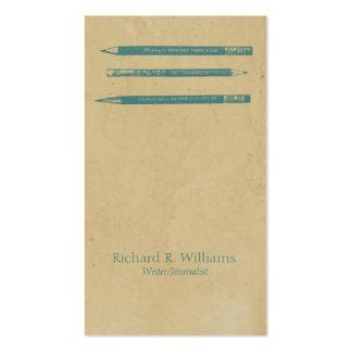 El vintage dibujó a lápiz el azul tarjetas de visita