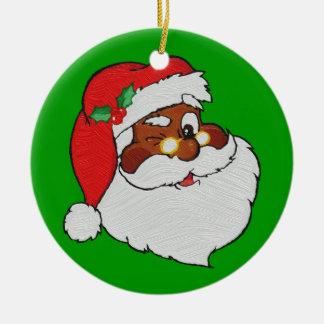 El vintage diseñó la imagen negra de Santa Ornamentos De Reyes