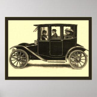 El vintage eléctrico del del coche de la ciudad poster