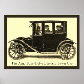 El vintage eléctrico del del coche de la ciudad posters
