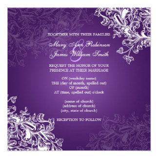 El vintage elegante del boda remolina púrpura comunicado personal