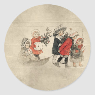 el vintage embroma el árbol de navidad pegatina redonda