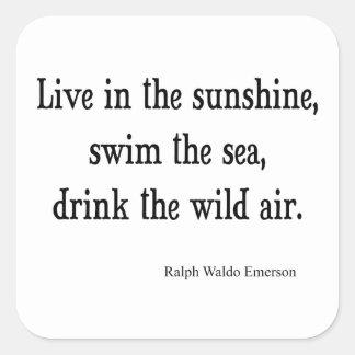 El vintage Emerson vive en cita de la sol Calcomanía Cuadrada Personalizada
