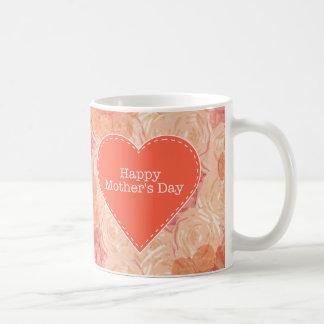 El vintage en colores pastel del melocotón subió l taza de café