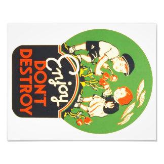 El vintage Enjoy no destruye el poster de WPA Fotografías