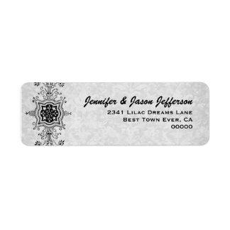 El vintage enrolla la etiqueta del boda etiqueta de remite