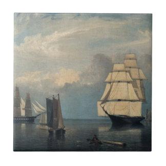 El vintage envía el puerto de Salem Azulejo Cuadrado Pequeño