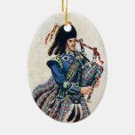 El vintage Escocia, sigue las gaitas Adorno Navideño Ovalado De Cerámica