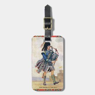 El vintage Escocia, sigue las gaitas Etiquetas Maleta