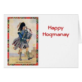 El vintage Escocia, sigue las gaitas Felicitacion