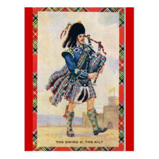 El vintage Escocia, sigue las gaitas Postales