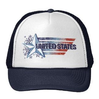 El vintage Estados Unidos señala por medio de una  Gorras