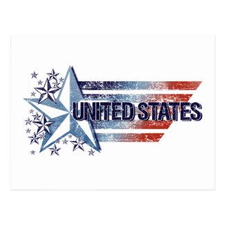 El vintage Estados Unidos señala por medio de una Postales
