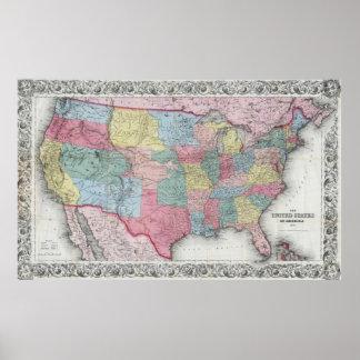 El vintage Estados Unidos traza (1853) Póster