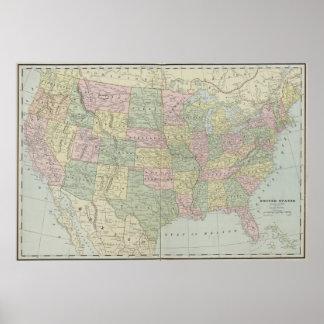 El vintage Estados Unidos traza (1889) Póster
