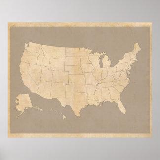El vintage Estados Unidos traza Póster