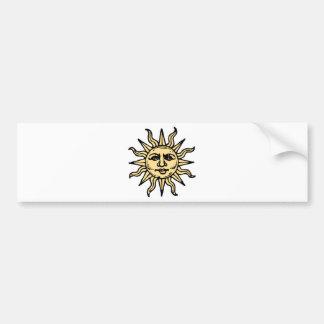 El vintage estilizado Sun hace frente Pegatina De Parachoque