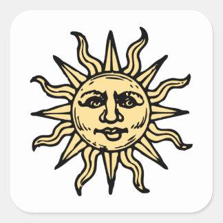 El vintage estilizado Sun hace frente Pegatina Cuadrada