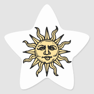 El vintage estilizado Sun hace frente Pegatina En Forma De Estrella