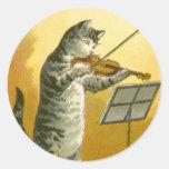 El vintage ey Diddle Diddle el gato, violín, vaca, Pegatina
