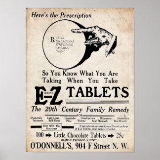 El vintage EZ hace tabletas el remedio del siglo Poster