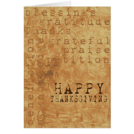 El vintage feliz de la acción de gracias diseñó la tarjeta de felicitación
