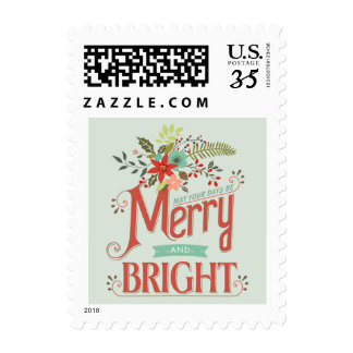 El vintage feliz y brillante de la postal florece sellos