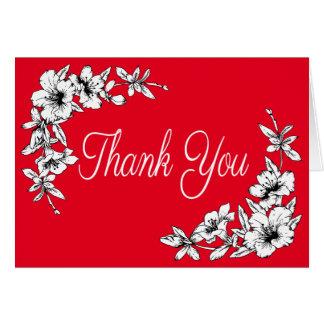 El vintage floral agradece la flor roja y blanca tarjeta pequeña