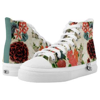 El vintage floral antiguo hermoso colorea botánico zapatillas