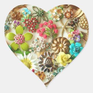 El vintage floral Jewels al pegatina