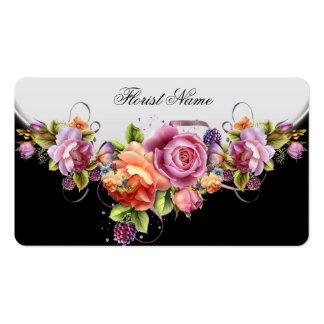El vintage florece al florista coralino rosado de  tarjetas de visita