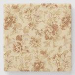 El vintage florece de papel el pergamino quemado posavasos de piedra