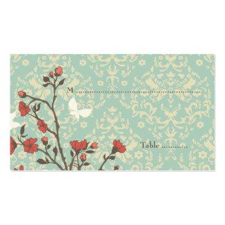 El vintage florece el pájaro + tarjeta del lugar tarjetas de visita