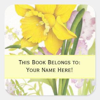 """El vintage florece """"este libro pertenece"""" al pegatina cuadrada"""