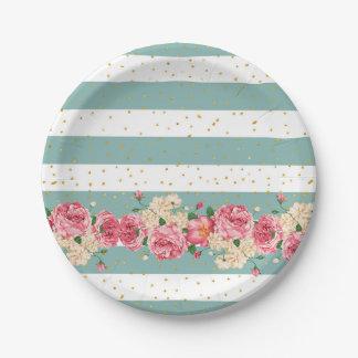 El vintage florece falsas rayas de los puntos del plato de papel de 7 pulgadas