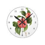 El vintage florece las camelias rosadas rojas flor reloj de pared
