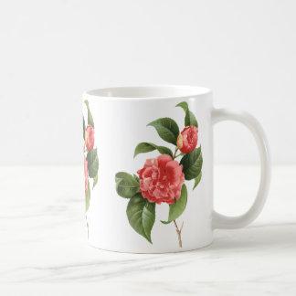 El vintage florece las camelias rosadas rojas flor tazas de café