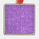 El vintage florece púrpura de la lavanda adorno cuadrado plateado