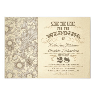 """el vintage florece reserva tipográfica la fecha invitación 5"""" x 7"""""""