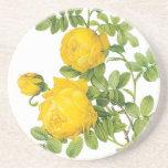 El vintage florece rosas florales, amarillos por R Posavasos Manualidades